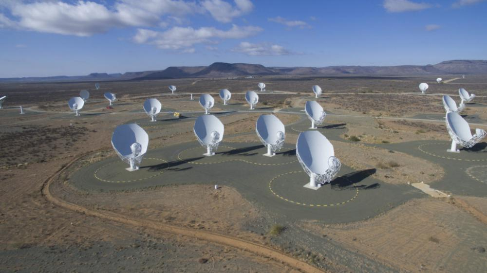 An overview of the MeerKAT radio telescope currently being constructed in the Karoo in the Northern Cape, South Africa. (Credit: SKA South Africa)